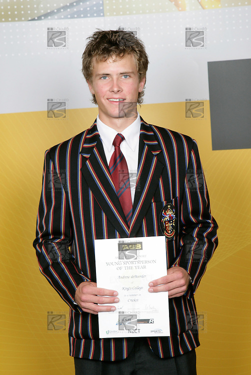 Cricket Boys Winner - Andrew deBoorder. ASB College Sport Young Sportsperson of the Year Awards 2006, held at Eden Park on Thursday 16th of November 2006.<br />