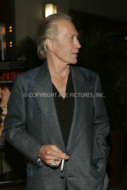 WWW.ACEPIXS.COM................June 4 2009....Actor David Carradine has been found dead in a Hotel in Bankok on June 4 2009 in Thailand.....Picture here at the premiere of 'Polanski Unauthorized' on February 10 2009 in West Hollywood, California.....Please byline: JOE WEST - ACEPIXS.COM  ..  ***  ..Ace Pictures, Inc:  ..tel: (646) 769 0430..e-mail: info@acepixs.com..web: http://www.acepixs.com