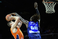 Jerry Evans Jr (Giants) tries to block Conor Morgan (Sharks) during the national basketball league semifinal match between Nelson Giants and Southland Sharks at TSB Bank Arena in Wellington, New Zealand on Saturday, 4 August 2018. Photo: Dave Lintott / lintottphoto.co.nz