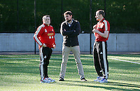 Pictured L-R: Nigel Rees, men's squad coach Pep and Dave Adams, head of academy coaching. Wednesday 14 May 2014<br />