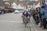 Dries Devenyns (BEL/Quickstep) leads a narrowed down peloton up Nokere Berg<br /> <br /> 69th Kuurne-Brussel-Kuurne 2017 (1.HC)