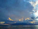 storms forming out to sea as visible from kaanapali beach, maui, hawaii