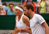 London, England, 3 July, 2016, Tennis, Wimbledon,Mixed Doubles: Oksana Kalashnikova (GRG) and Matwe Middelkoop (NED)<br /> Photo: Henk Koster/tennisimages.com