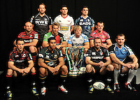 London, England. Club Captains from the 2012/13 Heineken Cup pose for group photo at the UK Heineken Cup and Amlin Challenge Cup season launch at SKY Studios on October 1, 2012 in London, England.