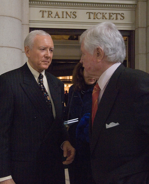 "Senate Health, Education, Labor and Pensions Chairman Edward Kennedy, D-Mass. and Sen. Orrin Hatch, R-Utah;  talk after addressing the Alliance for Health Reform news conference, ""Reaching Out: Enrolling and Keeping Kids in the State Children's Health Insurance Program (SCHIP)."""