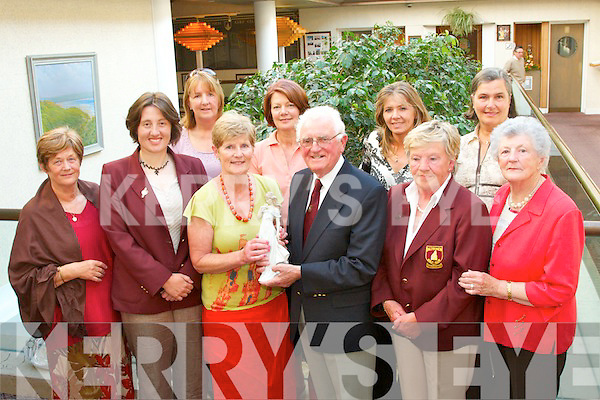 LADIES DAY: Prize-winners at the Sean Adams Ladies Day at Ballybunion Golf Club on Sunday were, front l-r: Catherine Quinlivan, Deirdre Dillane (Lady Captain), Nola Adams accepting first prize from Sean Adams (President), Mary OConnell (Lady President) and Norma McKeon. Back l-r: Jean Liston, Tina Curtin, Maeve Barrett and Lucy McAuliffe.