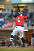 Billings Mustangs Jonathan Willems (5) at bat during a Pioneer League game against the Grand Junction Rockies at Dehler Park on August 14, 2019 in Billings, Montana. Grand Junction defeated Billings 8-5. (Zachary Lucy/Four Seam Images)