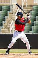 Keenyn Walker #23 of the Kannapolis Intimidators at bat against the Hickory Crawdads at CMC-Northeast Stadium on April 8, 2012 in Kannapolis, North Carolina.  The Intimidators defeated the Crawdads 12-11.  (Brian Westerholt/Four Seam Images)