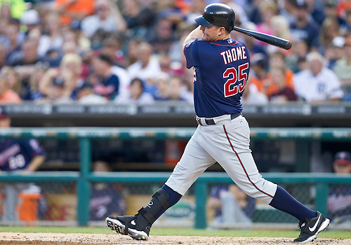 August 17, 2011:  Minnesota Twins designated hitter Jim Thome (#25) at bat during MLB game action between the Minnesota Twins and the Detroit Tigers at Comerica Park in Detroit, Michigan.  The Twins defeated the Tigers 6-5.