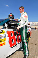 May 30, 2008; Dover, DE, USA; Nascar Sprint Cup Series driver Dale Earnhardt Jr during qualifying for the Best Buy 400 at the Dover International Speedway. Mandatory Credit: Mark J. Rebilas-US PRESSWIRE
