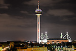 750 foot tall Tower of the Americas and the Alamodome at night in San Antonio.