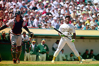 OAKLAND, CA - Rickey Henderson of the Oakland Athletics strikes out during a game against the Baltimore Orioles at the Oakland Coliseum in Oakland, California in 1990. Photo by Brad Mangin