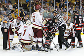 John Gravallese, Tommy Cross (BC - 4), John Muse (BC - 1), Patrick Wey (BC - 6), Braden Pimm (Northeastern - 14), Brian Gibbons (BC - 17), Rob Dongara (Northeastern - 39) - The Boston College Eagles defeated the Northeastern University Huskies 5-4 in their Hockey East Semi-Final on Friday, March 18, 2011, at TD Garden in Boston, Massachusetts.