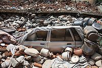 A destroyed car under the rubble at Karvrepalanchowk, outside of Outside of Kathmandu, Nepal. May 1, 2015