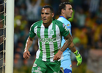 MEDELLÍN - COLOMBIA, 17-03-2018: Aldo Leao Ramirez de Atlético Nacional celebra después de anotar el segundo gol de su equipo a Deportivo Pasto durante partido por la fecha 9 de la Liga Águila I 2018 jugado en el estadio Atanasio Girardot de la ciudad de Medellín. / Aldo Leao Ramirez payer of Atletico Nacional celebrates after scoring the second goal of his team to Deportivo Pasto during match for the date 9 of the Aguila League I 2018 at Atanasio Girardot stadium in Medellin city. Photo: VizzorImage/León Monsalve/Cont