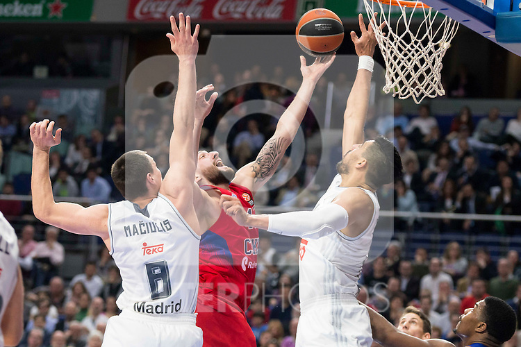 CSKA Moscu's player Freeland and Real Madrid's players Maciulis and Gustavo Ayon during the match between Real Madrid and CSKA Moscu of Turkish Airlines Euroleague at Barclaycard Center in Madrid, March 02, 2016. (ALTERPHOTOS/BorjaB.Hojas) during the match between Real Madrid and CSKA Moscu of Turkish Airlines Euroleague at Barclaycard Center in Madrid, March 02, 2016. (ALTERPHOTOS/BorjaB.Hojas)