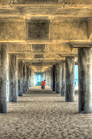 Huntington Beach, CA, Pier, Under, Concrete, Ocean Waves,