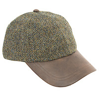Studio photograph of the Tyndrum Tweed Leather Peak Baseball Cap