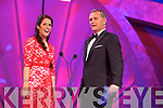 Luxembourg Rose, Nicola McEvoy chats to presenter Dáithí Ó Sé during the Monday night Rose Selection at the Dome.