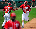 23 August 2009: Washington Nationals' All-Star third baseman Ryan Zimmerman rounds third and heads home to score a 2-run homer against the Milwaukee Brewers at Nationals Park in Washington, DC. The Nationals defeated the Brewers 8-3 to take the third game of their four-game series, snapping a five games losing streak. Mandatory Credit: Ed Wolfstein Photo