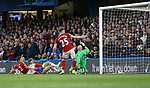 Chelsea's Marcos Alonso scoring his sides second goal during the Premier League match at Stamford Bridge Stadium, London. Picture date: May 8th, 2017. Pic credit should read: David Klein/Sportimage