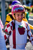 OLDSMAR, FLORIDA - FEBRUARY 11: Pablo Morales, after a race, at Tampa Bay Downs on February 11, 2017 in Oldsmar, Florida (photo by Douglas DeFelice/Eclipse Sportswire/Getty Images)
