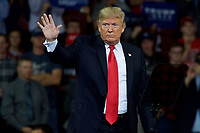 TOPEKA, KS - OCTOBER 6: President Donald Trump at MAGA rally in support of Kansas Secretary of State Kris Kobach who is the Republican candidate for governor in Topeka, Kansas on October 6, 2018. <br /> CAP/MPI/MRN<br /> ©MRN/MPI/Capital Pictures