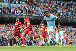Manchester City's Gabriel Jesus scoring his sides third goal during the premier league match at the Etihad Stadium, Manchester. Picture date 9th September 2017. Picture credit should read: David Klein/Sportimage