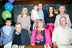 Mary O'Shea, Meadowlands Tralee, celebrates her 70th Birthday with family at the Meadowlands Hotel on Sunday. Pictured Front l-r Tiernan O'Shea, Tadhg O'Shea, Mary O'Shea, Gerard Quiller, Back l-r Triona O'Shea, Sive O'Shea, Tadhg O'Shea, Grainne O'Shea, Noreen Quiller