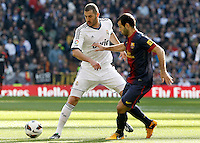 Real Madrid's Karim Benzema (l) and FC Barcelona's Javier Mascherano during La Liga match.March 02,2013. (ALTERPHOTOS/Acero) /NortePhoto