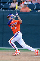 Shortstop Eli White (4) of the Clemson Tigers bats in a game against the Wofford College Terriers on Tuesday, May 5, 2015, at Russell C. King Field in Spartanburg, South Carolina. Wofford won, 17-9. (Tom Priddy/Four Seam Images)