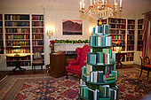 "The 2017 White House Christmas decorations, with the theme ""Time-Honored Traditions,"" which were personally selected by first lady Melania Trump, are previewed for the press in Washington, DC on Monday, November 27, 2017. Pictured are decorations in the White House Library.<br /> Credit: Ron Sachs / CNP"