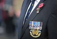 Pictured: Medals and a poppy worn by an ex serviceman Friday 11 November 2016<br />