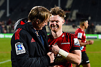 11th July 2020, Christchurch, New Zealand;  Mitchell Drummond of the Crusaders and Scott Robertson Coach of the Crusaders celebrates winning the Super Rugby Aotearoa, Crusaders versus Blues, at Orangetheory Stadium, Christchurch