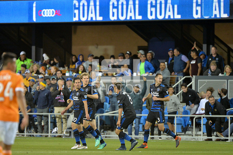 San Jose, CA - Saturday April 14, 2018: Jahmir Hyka celebrates scoring during a Major League Soccer (MLS) match between the San Jose Earthquakes and the Houston Dynamo at Avaya Stadium.