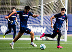 UD Levante's Gonzalo Melero (l) and Tono Garcia during training session. May 28,2020.(ALTERPHOTOS/UD Levante/Pool)