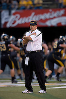 06 September 2008: Missouri Head Coach Gary Pinkel watches the Tigers warm up prior to the game with the Southeast Missouri State Redhawks at Memorial Stadium in Columbia, Missouri.