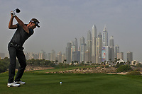 Raphael Jacquelin (FRA) on the 8th tee during Round 1 of the Omega Dubai Desert Classic, Emirates Golf Club, Dubai,  United Arab Emirates. 24/01/2019<br />