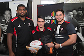 Roller Mills Player of the Year, Adrian McCord from Manurewa Intermediate with Viliame Rarasea and Sam Henwood. Counties Manukau Rugby Unions Junior Prize giving held at ECOLight Stadium Pukekohe on Wednesday October12th, 2016.<br /> Photo by Richard Spranger.