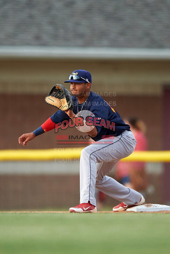 State College Spikes first baseman Ryan McCarvel (25) waits for a throw during a game against the Batavia Muckdogs on June 22, 2016 at Dwyer Stadium in Batavia, New York.  State College defeated Batavia 11-1.  (Mike Janes/Four Seam Images)