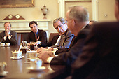 United States President George W. Bush meets with Democratic and Republican Congressional leaders to discuss trade promotion authority in the Cabinet Room of the White House in Washington, DC on October 16, 2001.<br /> Mandatory Credit: Tina Hager / White House via CNP