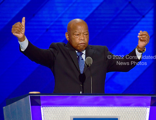 United States Representative John Lewis (Democrat of Georgia) seconds the nomination of former US Secretary of State Hillary Clinton for President of the United States during the second session of the 2016 Democratic National Convention at the Wells Fargo Center in Philadelphia, Pennsylvania on Tuesday, July 26, 2016.<br /> Credit: Ron Sachs / CNP<br /> (RESTRICTION: NO New York or New Jersey Newspapers or newspapers within a 75 mile radius of New York City)
