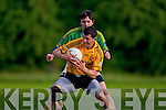 Brian McGuire(Emmets) and Cyril Lynch(Finugue) in O'Sullivan Park last Saturday evening.