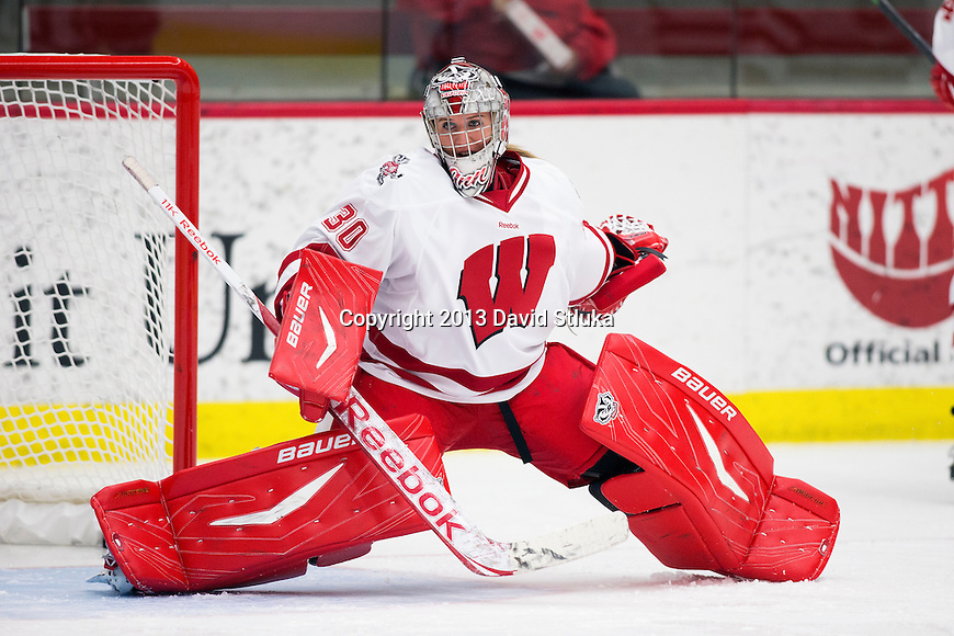 Wisconsin Badgers goalie Ann-Renee Desbiens (30) during warmups prior to a women's hockey exhibition against Team Japan in Madison, Wisconsin, on September 23, 2013. The Badgers won 3-0. (Photo by David Stluka)