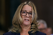 WASHINGTON, DC - SEPTEMBER 27:  Christine Blasey Ford testifies before the Senate Judiciary Committee in the Dirksen Senate Office Building on Capitol Hill September 27, 2018 in Washington, DC. A professor at Palo Alto University and a research psychologist at the Stanford University School of Medicine, Ford has accused Supreme Court nominee Judge Brett Kavanaugh of sexually assaulting her during a party in 1982 when they were high school students in suburban Maryland. In prepared remarks, Ford said, ÒIt is not my responsibility to determine whether Mr. Kavanaugh deserves to sit on the Supreme Court. My responsibility is to tell the truth.Ó  (Photo by Win McNamee/Getty Images)