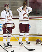 Megan Keller (BC - 4), Erin Kickham (BC - 3) -  The Boston College Eagles defeated the visiting Boston University Terriers 5-0 on BC's senior night on Thursday, February 19, 2015, at Kelley Rink in Conte Forum in Chestnut Hill, Massachusetts.