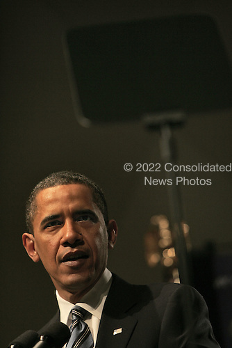 Washington, DC - April 27, 2009 -- United States President Barack Obama consults the telprompter as he speaks to the National Academy of Sciences in Washington, DC on Monday, April 27, 2009. .Credit: Dennis Brack - Pool via CNP