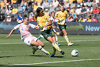 9th November 2019; Bankwest Stadium, Parramatta, New South Wales, Australia; International Womens Friendly Football, Australia versus Chile; Sam Kerr of Australia shoots under pressure from Rocio Soto of Chile - Editorial Use