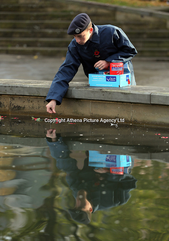 Pictured: A lone cadet deposits poppies in the fountain Friday 11 November 2016<br />