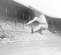 August-September 1920, Olympic Stadium, Antwerp, Belgium;  1920 Summer Olympic Games;  W. Petterssen Bjorneman Sweden won the Long Jump at 23 ft 5 half inches Olympic Games 1920 ; A total of 29 nations participated in the Antwerp Games, only one more than in 1912, as Germany, Austria, Hungary, Bulgaria and Ottoman Empire were not invited, having lost World War I.